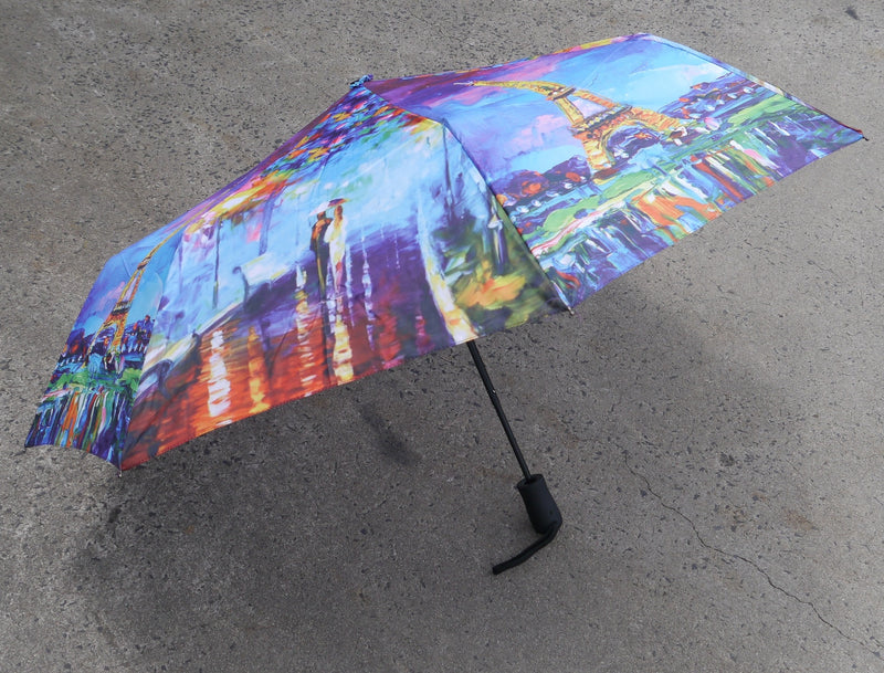 BONJOUR PARIS UMBRELLA EIFFEL TOWER COLOURFUL CITY AUTOMATIC OPEN COMPACT FOLDING HW185