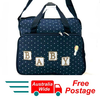 TRENDY BABY DIAPER TOTE NAPPY BAG WITH CHANGE MAT NAVY BLUE HW196