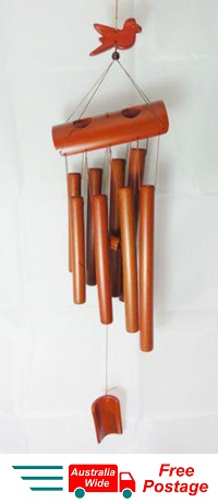 WIND CHIME TRADITIONAL BAMBOO WITH 8 BAMBOO TUBES BIRD DESIGN W 20-1