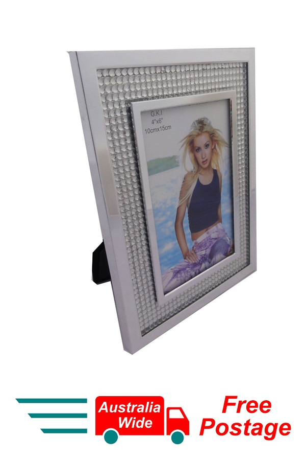 PHOTO FRAME GKI SILVER MIRROR FRAME WITH DIAMANTES 4x6 10CM X 15CM
