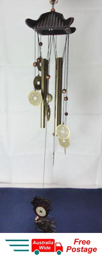 WIND CHIME  LUCKY COINS WITH CHINESE WOODEN PAGODA &  BRASS TUBES W32B