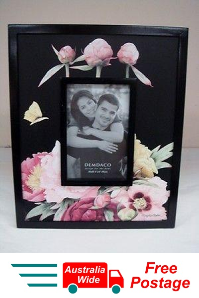 DEMDACO NATURES JOURNEY  BY MARJOLEIN BASTIN PEONY BLACK VERTICAL PHOTO FRAME