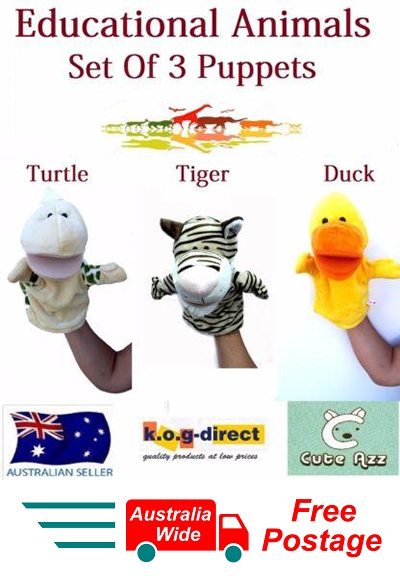 SET OF 3 CUTE AZZ PLUSH EDUCATIONAL ANIMALS HAND PUPPETS TURTLE TIGER D DUCK B55