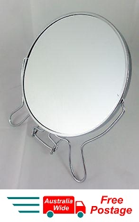 "MAGNIFYING COSMETIC TWO SIDED BATHROOM MIRROR ON STAND 6"" 3X MAGNIFICATION WL16"