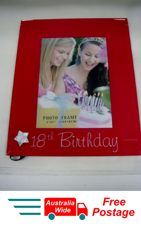 GLASS PHOTO FRAME 18TH BIRTHDAY WITH SLIVER STAR 5x7 PINK