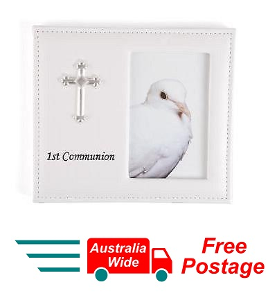 "FIRST HOLY COMMUNION WHITE VINYL LEATHER PHOTO FRAME WITH CROSS 4""x 6"""