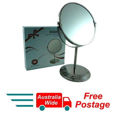 MAGNIFYING COSMETIC SHAVING BATHROOM MIRROR 2 SIDED & STAND 3X MAGNIFICATION W7