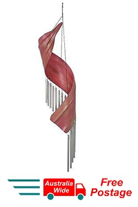 WIND CHIME TRADITIONAL PINK COCONUT LEAF SWIRL WITH 18 METAL TUBES WINDCHIME