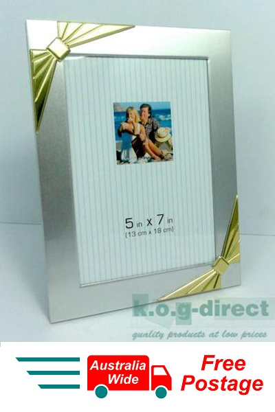 PHOTO FRAME SILVER WITH GOLD BOWS PHOTO SIZE 5 X 7