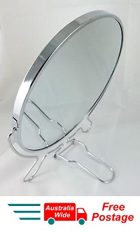 "MAGNIFYING COSMETIC TWO SIDED BATHROOM MIRROR ON STAND 8"" 3X MAGNIFICATION WL17"