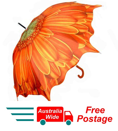 ORANGE GERBERA FLOWER AUTOMATIC OPENING 100CM DIAMETER UMBRELLA HW-72