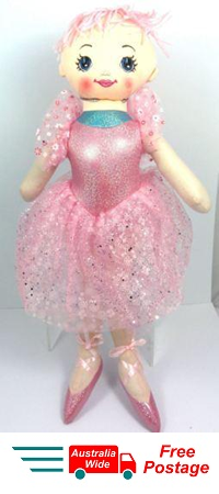 CUTE AZZ COLLECTABLE BALLERINA DANCER RAG DOLL PINK RAGDOLL 60CM TALL HW-100