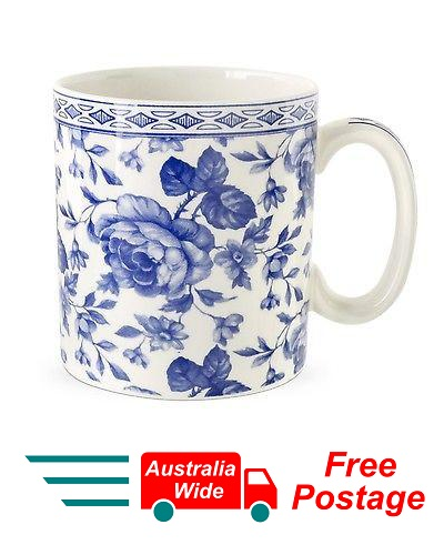 SPODE BLUE COFFEE TEA MUG CHINTZ BOUQUET PORTMEIRION GROUP