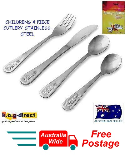 WHITEHILL BUNNY DESIGN CHILDREN 4 Pcs CUTLERY SET S/STEEL BUNNY'S BISTRO