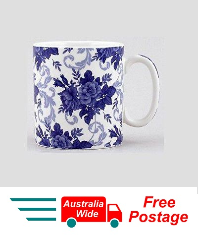 SPODE BLUE COFFEE TEA MUG CHINTZ CORSAGE PORTMEIRION GROUP