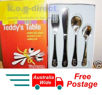 WHITEHILL TEDDY BEAR DESIGN CHILDREN 4 Pcs  CUTLERY SET S/STEEL TEDDY'S TABLE