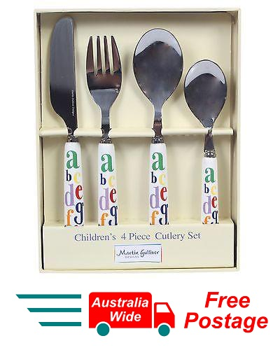 MARTIN GULLIVER CHILDRENS KIDS 4 PIECE ALPHABET CUTLERY SET STAINLESS STEEL