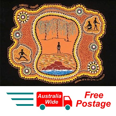 AUSTRALIAN ABORIGINAL ART PANEL BY NAIURA  ( BOREE-BUNNABEE-BUNNABRI PAINTING )