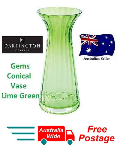 DARTINGTON CRYSTAL GEMS CONICAL VASE LIME GREEN BRAND NEW IN BOX 22CM