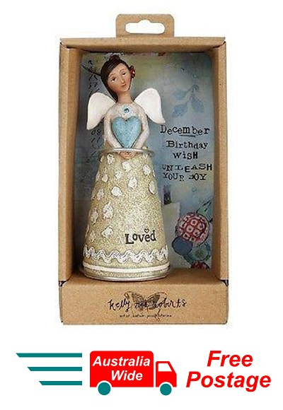 KELLY RAE ROBERTS COLLECTION BIRTHDAY WISH ANGEL FIGURINE - DECEMBER BIRTHSTONE