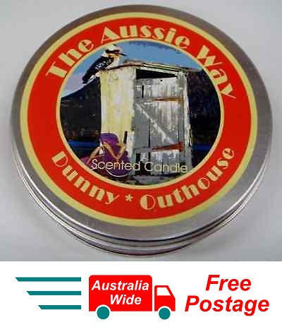 AUSTRALIAN SOUVENIR CANDLE VANILLA SCENTED CANDLE IN TIN THE AUSSIE WAY DUNNY