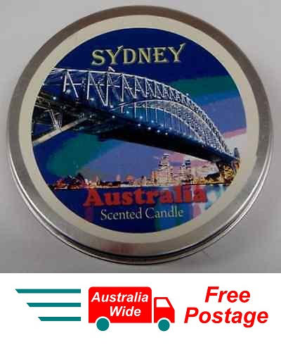 AUSTRALIAN SOUVENIR CANDLE VANILLA SCENTED CANDLE IN TIN SYDNEY LANDSCAPE