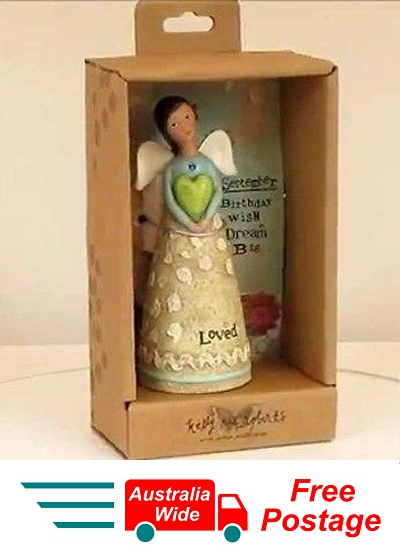 KELLY RAE ROBERTS COLLECTION BIRTHDAY WISH ANGEL FIGURINE - SEPTEMBER BIRTHSTONE