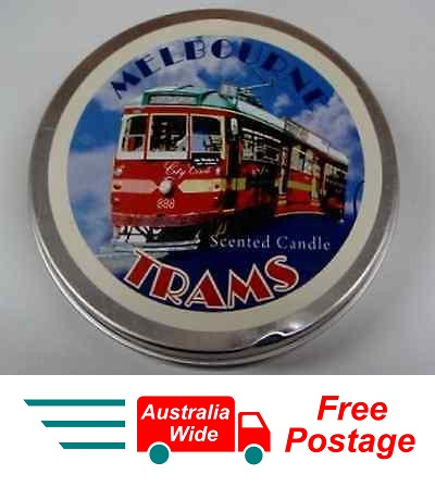 AUSTRALIAN SOUVENIR CANDLE  VANILLA SCENTED CANDLE IN TIN MELBOURNE TRAM