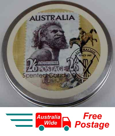 AUSTRALIAN SOUVENIR CANDLE VANILLA SCENTED CANDLE IN TIN ABORIGINE STAMP