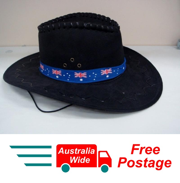 AUSTRALIAN SOUVENIRS AUSTRALIAN BLACK OUTBACK HAT WITH CHIN STRAP