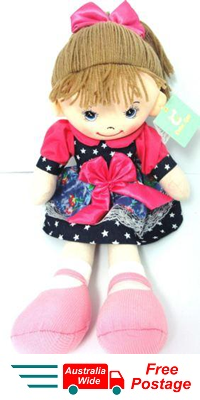 CUTE AZZ COLLECTABLE RAG DOLL DENIM DRESS WITH PINK BOW RAGDOLL 50CM TALL HW-101