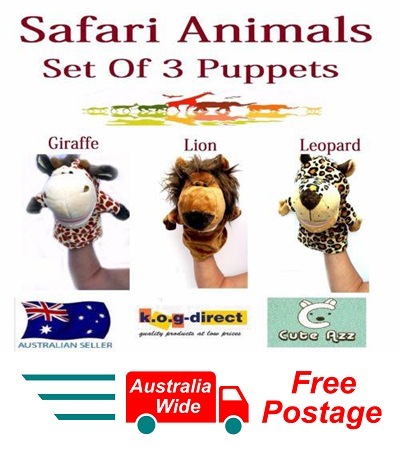 SET OF 3 CUTE AZZ PLUSH SAFARI ANIMALS HAND PUPPETS GIRAFFE LION LEOPARD B-55