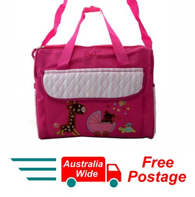 TRENDY BABY DIAPER TOTE NAPPY BAG WITH CHANGE MAT PINK DRK HW192