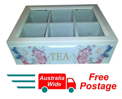 WHITE WOODEN FLORAL TEA BOX CONTAINER GLASS LID 6 DIVISIONS HOLDS 60 BAGS HW-25