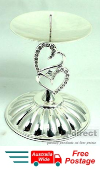WEDDING ENGAGEMENT ANNIVERSARY CANDLE HOLDER SILVER HEARTS CAKE TOPPER