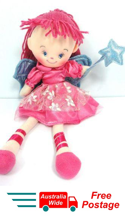 CUTE AZZ COLLECTABLE FAIRY RAG DOLL DARK PINK RAGDOLL 35 CM TALL HW-76