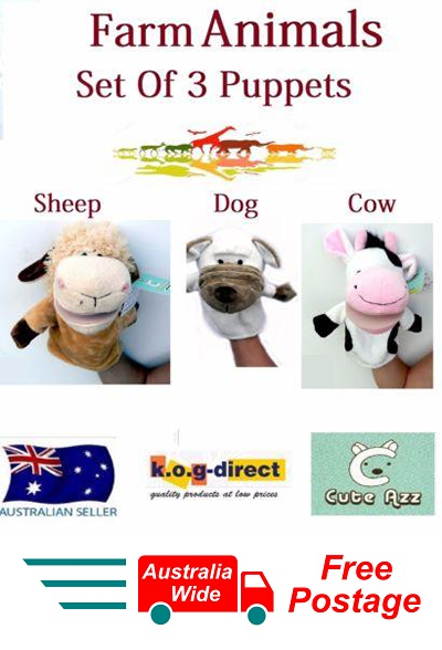 SET OF 3 CUTE AZZ PLUSH FARM ANIMALS HAND PUPPETS SHEEP DOG COW B-55
