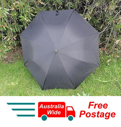 CLASSIC BLACK UMBRELLA WITH WOOD HANDLE 100CM DIAMETER AUTOMATIC OPEN