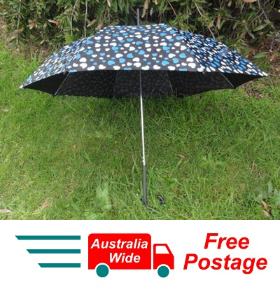 UMBRELLA BLACK WITH BLUE HEARTS 100CM DIAMETER AUTOMATIC OPEN