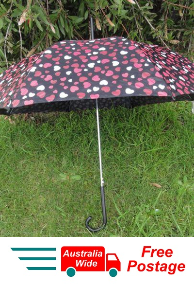 UMBRELLA BLACK WITH RED HEARTS 100CM DIAMETER AUTOMATIC OPEN