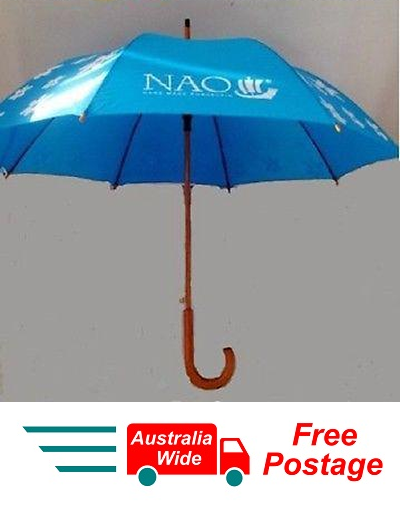 NAO LLADRO LARGE GOLF UMBRELLA BRIGHT BLUE WOODEN FRAME 100CM DIAMETER