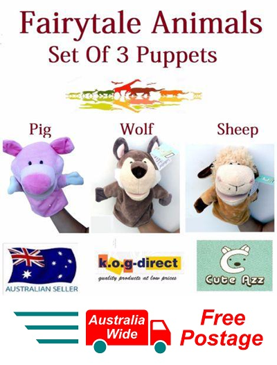 SET OF 3 CUTE AZZ PLUSH FAIRY TALE ANIMALS HAND PUPPETS PIG WOLF SHEEP B-55