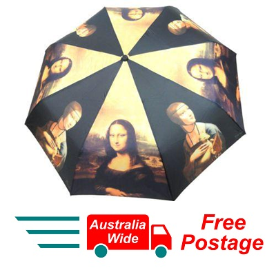 DA VINCI MONA LISA LADY WITH ERMINE AUTOMATIC OPEN CLOSE FOLDING UMBRELLA HW-70