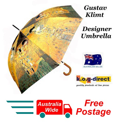 ARTIST GUSTAV KLIMT THE KISS & WOMAN IN GOLD AUTOMATIC OPEN 100CM UMBRELLA HW-69
