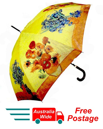 VAN GOGH IRISES SUNFLOWER AUTOMATIC OPENING 100CM DIAMETER UMBRELLA HW-69
