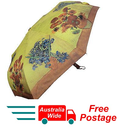 VAN GOGH IRISES SUNFLOWER AUTOMATIC OPEN CLOSE FOLDING UMBRELLA HW-70