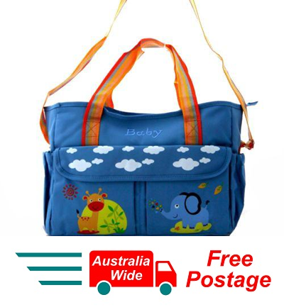 TRENDY BABY DIAPER TOTE NAPPY BAG WITH CHANGE MAT BLUE HW194