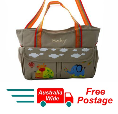 TRENDY BABY DIAPER TOTE NAPPY BAG WITH CHANGE MAT BEIGE HW194