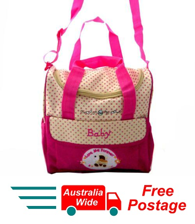 TRENDY BABY DIAPER TOTE NAPPY BAG LOVE ME FOREVER WITH CHANGE MAT PINK HW195