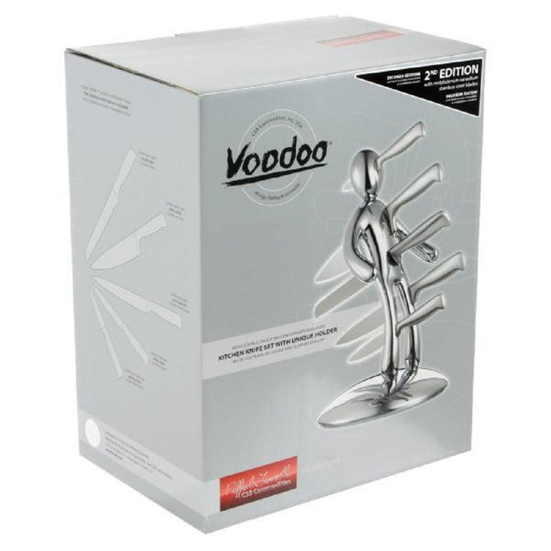 THE GUARANTEED ORIGINAL VOODOO CSB KITCHEN KNIFE BLOCK SET CHROME SECOND EDITION